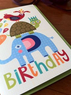 Animal Stack Birthday Card - by Little Red Owl from littleredowl