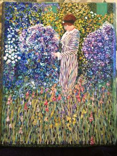 Lady in the Garden. Originally by Frederick Frieseke 1912. I painted this for my Grandma. Gingercooklive #thinkpinkart on YouTube.