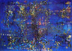 'Paris at Night', 1951 - Maria-Elena Vieira da Silva Paris At Night, Abstract Expressionism, Abstract Art, Art Français, Paris Painting, Photo D Art, Human Art, Art Moderne, True Art