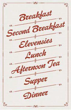 A Hobbit's eating schedule.