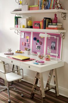 LOVE the sawhorse desk thing... need something like this to reclaim blue bookcases... Hrrmmm...