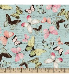 Premium Cotton Fabric-Susan Winget Botanical Buzz Butterfly Verbage