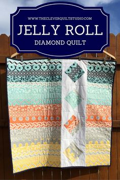 tutorial for free jelly roll diamond quilt...simple, so easy and super effective (almost no waste)