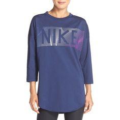 Women's Nike Logo Graphic Sweatshirt (225 SAR) ❤ liked on Polyvore featuring tops, hoodies, sweatshirts, midnight navy, nike top, drop shoulder tops, nike, patterned sweatshirt and patterned tops