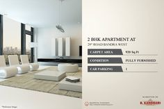 Residential 2 BHK Apartment available for sale at Road Bandra West. Condition - Fully Furnished Car Parking - 1 For further details kindly contact:- Karan Marchande - 9821294967 Property Sale, Car Parking, Mumbai, Luxury Homes, Conditioner, Carpet, Real Estate, Home Decor, Luxurious Homes