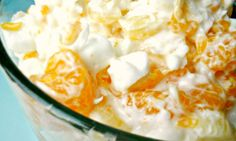 Ingredients     1 cup sour cream   1 cup shredded coconut   1 cup miniature marshmallows       1 cup pineapple tidbits, drained   1 cup mandarin oranges, drained    Directions     Mix sour cream, coconut, marshmallows, and pineapple together in a bowl; garnish