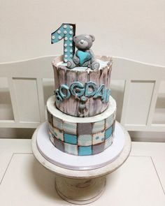 Tatty teddy patchwork cake by Cupcakes, Cupcake Cakes, Pastel Baby Niño, Patchwork Cake, Baseball Theme Birthday, Buttercream Cake Designs, Teddy Bear Cakes, Fantasy Cake, Painted Cakes