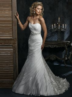 Strapless Empire waist Trumpet / Mermaid Chiffon wedding dress