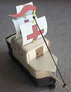 milk carton Spanish galleon for Columbus Day - I've done this one before in art class and it was SO CUTE