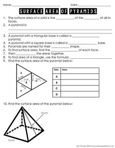 Surface Area of Pyramids Notes by To the Square Inch- Kate Bing Coners | Teachers Pay Teachers