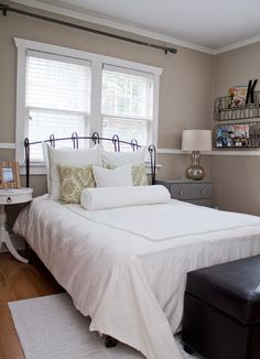 bedroom paint color: ben Fairview Taupe I like the color. got an idea from the picture, the rod on the wall above window pull a curtain open window treatment