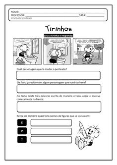Tirinhas 2 penteado do Cebolinha | Atividades Pedagogica Suzano Education, School, Punctuation Activities, Language Activities, Writing Activities, Dyslexia, Classroom, Note Cards, Onderwijs