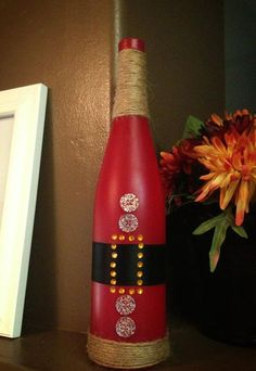 Santa Wine Bottle - you could make this easily! DIY Christmas Gift :)