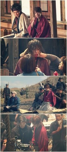 Making of Rurouni Kenshin live action. Takeru Satoh as Kenshin Himura, Munetaka Aoki as Sanosuke Sagara, with crew. Pictures are not mine.