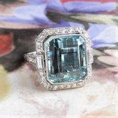 Fabulous 8.50ct t.w. Emerald Cut Aquamarine & Old Cut Diamonds Birthstone Cocktail Wedding Engagement Ring Platinum