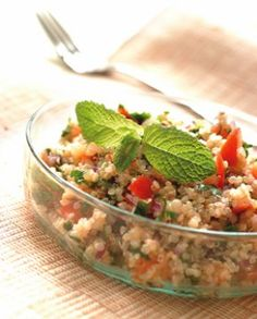 Gluten-Free Quinoa Salad with Fresh Herbs  Each serving contains 184 calories, 9g total fat, 1g saturated fat, 0g trans fat, 0mg cholesterol, 122mg sodium, 22g carbohydrate, 3g fiber, 3g protein.