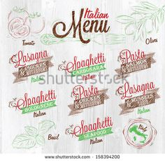 Menu Italian  the names of dishes of spaghetti, lasagna, pasta carbonara, bolognese and other ingredients tomato, basil, olive to design a menu stylized on the background of whitened wood