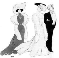Belle Epoque celebrities: La Belle Otero, Liane de Pougy (?) and Jean Lorrain drawn by SEM