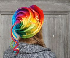 Unique fancy felted hat with long dreadlocks rainbow by filcAlki
