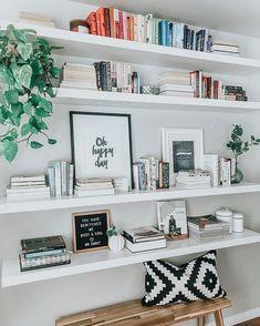 Shelf Styling + Modern Bookshelf + Floating Book Shelf + Ikea LACK shelves - Ikea DIY - The best IKEA hacks all in one place Bookshelves In Bedroom, Cool Bookshelves, Modern Bookshelf, Living Room Shelves, Living Room Decor, Books On Shelves, Bookshelf Ideas, Book Shelf Bedroom, Ikea Shelves Bedroom