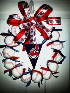 Cleveland Indians wreath - Made this for a friend with foam balls from Toys R Us and hot glued together.