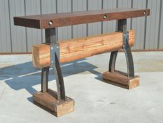 This awesome rustic bar table made from walnut and reclaimed antique heart pine is my favorite piece yet!   Hey, I found this really awesome Etsy listing at https://www.etsy.com/listing/199564940/post-beam-industrial-walnut-top-bar-with