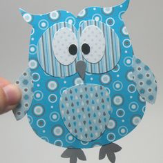 Blue Owl Embellishment - Printable Layered Papercraft Template