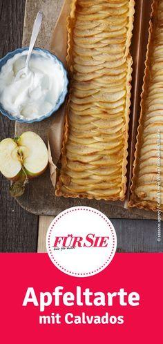 Diese saftige Apfeltarte mit Calvados solltet ihr unbedingt probieren! Sweet Tooth, Coconut, Fruit, Kitchen, Desserts, Food, Apples, Apple Recipes, Fried Apples
