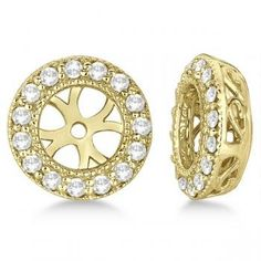 Vintage Round Cut Diamond Earring Jackets 14k Yellow Gold 0 30ct Allurez