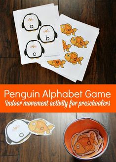 Penguin Themed Alphabet Game for Preschoolers with Printables. A fun winter literacy game for kids Literacy Games, Preschool Learning Activities, Free Preschool, Preschool Worksheets, Classroom Activities, Preschool Activities, Reading Activities, Spelling Activities, Teaching The Alphabet