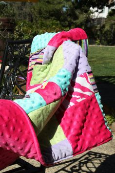 Zebra Blanket, Teen Girl Blanket, Pink, Teal, Minky Blanket, Spring Blanket