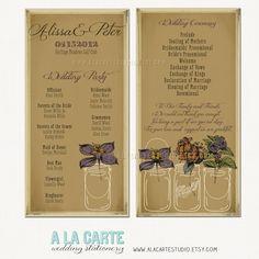 Rustic Wedding Ceremony Cards - Wedding Program  Kraft-style Rustic Wedding - Mason Jars Vintage Wedding. $20.00, via Etsy.