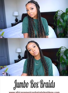 Beginner Friendly Jumbo Box Braids W/ Highlights And No Rubber Bands ⋆ African American Hairstyle Videos - AAHV French Braided Bangs, Loose French Braids, French Braid Hairstyles, Boho Hairstyles, Straight Hairstyles, Rubber Band Box Braids, Hair To One Side, Jumbo Box Braids, Second Day Hairstyles