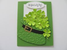Handmade Greetings, Greeting Cards Handmade, St Patricks Day Cards, Pet Sympathy Cards, Happy Valentines Day Card, Selling Handmade Items, Lucky Day, Embossed Cards, Glitter Cards