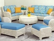 Clarissa - Wicker furniture for sunroom, covered patio, porch, or living room.  Sofa, loveseat, chair, coffee table, end table, rocking chair, wing back chair,  ottoman, dining chairs, chaise lounge and table.