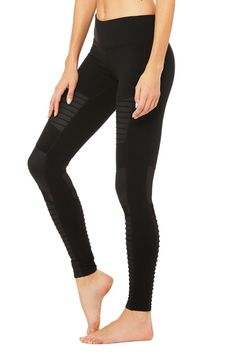 From the mat to what's before and after, Alo's patented Moto Legging fits into your lifestyle. On-trend moto-inspired quilted stitching and mixed matte shine fabric with mesh detail. Black Moto Leggings, Clothing Sites, Blazer Fashion, Fashion Boots, Running Tights, Workout Leggings, Workout Gear, Sports Women, Back Pain