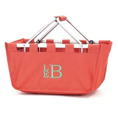 Monogrammed Coral Market Tote