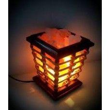 Vertical Wood Rock Salt Lamp