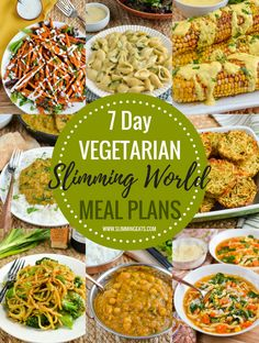 delicious 7 day Vegetarian Slimming World Meal Plans - taking the work out of me. - delicious 7 day Vegetarian Slimming World Meal Plans – taking the work out of meal planning so th - Vegetarian Weekly Meal Plan, Vegetarian Food List, Slimming World Vegetarian Recipes, Vegetarian Italian, Slimming Recipes, Pescatarian Meal Plan, Veggie Recipes, Healthy Recipes, Healthy Food