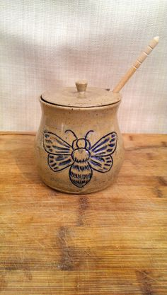 Hey, I found this really awesome Etsy listing at https://www.etsy.com/listing/185029779/blue-bumble-bee-stoneware-honey-pot-hand