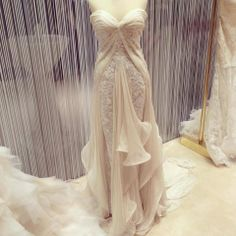 Chiffon and corded lace wedding gown by Singapore-based designer Jessicacindy.