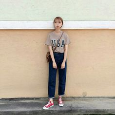 How to dress up 👗 Cute Fashion, Daily Fashion, Fashion Outfits, Womens Fashion, Casual Outfits, Cute Outfits, All Jeans, Ulzzang Fashion, Korea Fashion