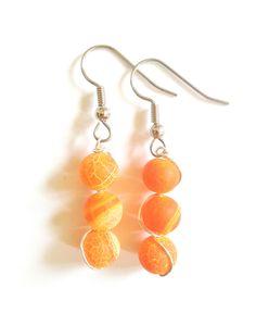 Fire Agate Earrings + Free Shipping - agate earrings, crystal earrings, crystal ball earrings, beaded earrings, orange earrings, gypsy by FeathersandStars on Etsy