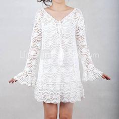 Hermoso vestido crochet, punto abanico.