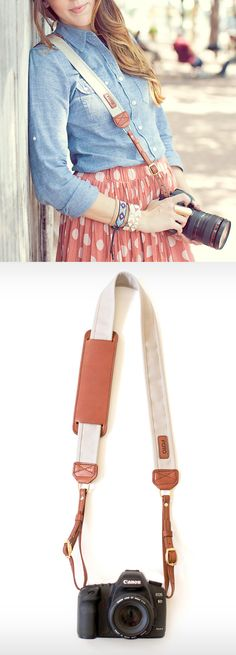 The Stone Fotostrap - Leather and canvas camera strap.  Plus, add your own initials to the shoulder pad!