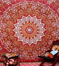 Gold Red Mandala Star Bohemian Boho Tapestry