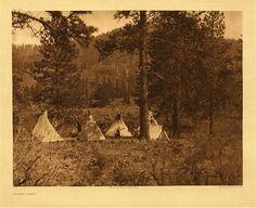 Eastern Washington Indians. Spokane Tribe. Spokane Camp -  1911 by Edward S. Curtis LOC Photo Display