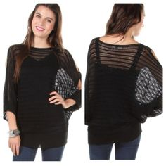 "Black open knit sweater (S/M M/L) Black open knit sweater  Length- 29"" Materials- 55% cotton/ 45% acrylic. This is extremely soft and stretchy! Completely sheer as you can see in the photos. Open shoulders and Dolman style sleeves.  NWT. Brand new with tags.  Availability- S/M•M/L • 3•3 PLEASE do not purchase this listing. Price is firm unless bundled. No trades Sweaters"