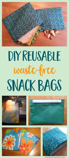 Learn how to make reusable DIY snack & sandwich bags for waste-free lunches and on-the-go snacking - with this easy sewing tutorial. | zero waste | snack bags | reusable lunch gear | simple sewing project via @mindfulmomma