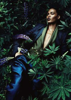 Deep blue satin and green - Joan Smalls in Haider Ackermann  Ph: Sølve Sundsbø…